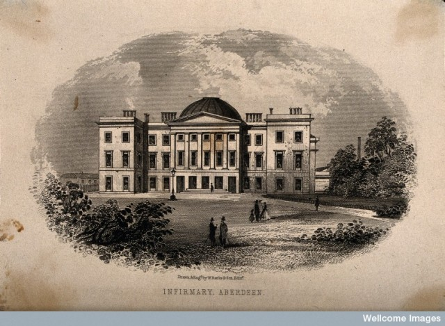 V0012129 Facade of the Royal Infirmary, Aberdeen. Engraving by W. Ban