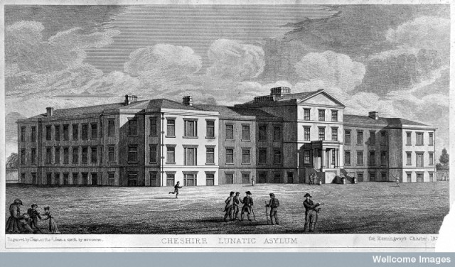 L0011786 Cheshire Lunatic Asylum, Cheshire. Line engraving by Dean af