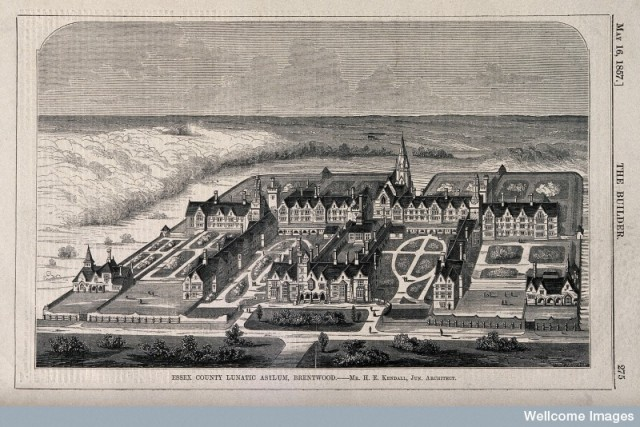 V0012255 The County Lunatic Asylum, Brentwood, Essex: bird's eye view