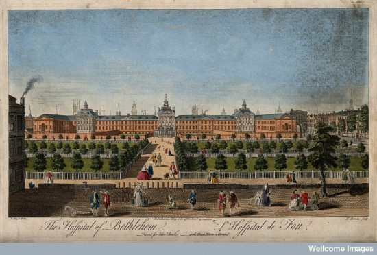 V0013176 The Hospital of Bethlem [Bedlam] at Moorfields, London: seen Credit: Wellcome Library, London. Wellcome Images images@wellcome.ac.uk http://wellcomeimages.org The Hospital of Bethlem [Bedlam] at Moorfields, London: seen from the north, with lunatics capering in the foreground. Coloured engraving by T. Bowles after J. Maurer. By: John Maurerafter: Thomas Bowles and Robert HookePublished: - Copyrighted work available under Creative Commons Attribution only licence CC BY 4.0 http://creativecommons.org/licenses/by/4.0/