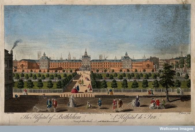 V0013176 The Hospital of Bethlem [Bedlam] at Moorfields, London: seen