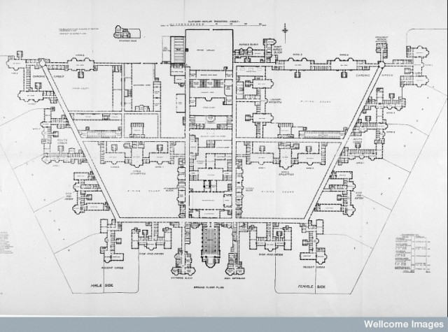 L0023315 Claybury Asylum, ground floor plan