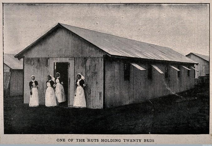V0015643 Boer War: a temporary hospital hut at Netley with four nurse