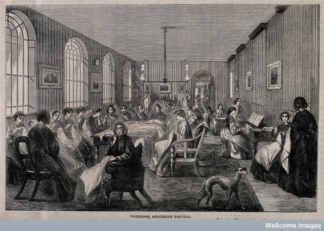 V0013741 The Hospital of Bethlem [Bedlam], St. George's Fields, Lambe Credit: Wellcome Library, London. Wellcome Images images@wellcome.ac.uk http://wellcomeimages.org The Hospital of Bethlem [Bedlam], St. George's Fields, Lambeth: the female workroom. Wood engraving probably by F. Vizetelly after F. Palmer, 1860. 1860 By: F. Palmerafter: Frederick VizetellyPublished: - Copyrighted work available under Creative Commons Attribution only licence CC BY 4.0 http://creativecommons.org/licenses/by/4.0/