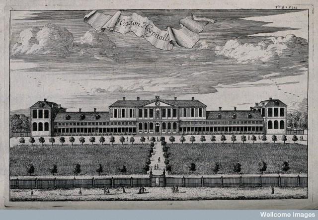 V0013682 Aske's Hospital, Shoreditch, London: a bird's-eye view of th