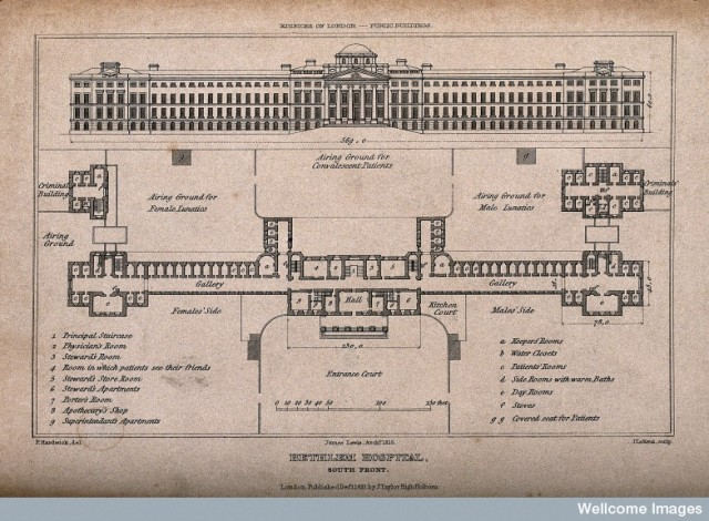 V0013728 The Hospital of Bethlem [Bedlam], St. George's Fields, Lambe Credit: Wellcome Library, London. Wellcome Images images@wellcome.ac.uk http://wellcomeimages.org The Hospital of Bethlem [Bedlam], St. George's Fields, Lambeth: elevation and plan, with a scale and a key. Engraving by J. Le Keux, 1823, after P. Hardwick. 1823 By: Philip Hardwickafter: John Le Keux and James LewisPublished: 1 December 1823 Copyrighted work available under Creative Commons Attribution only licence CC BY 4.0 http://creativecommons.org/licenses/by/4.0/