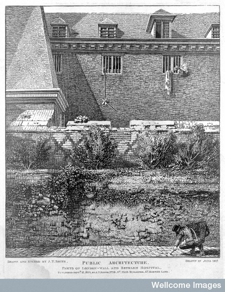 L0015087 The Hospital of Bethlem [Bedlam] at Moorfields, London: seen