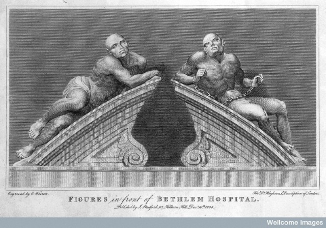 "L0015088 Statues of ""raving"" and ""melancholy"" madness, each reclining Credit: Wellcome Library, London. Wellcome Images images@wellcome.ac.uk http://wellcomeimages.org Statues of ""raving"" and ""melancholy"" madness, each reclining on one half of a broken segmental pediment, formerly crowning the gates at Bethlem [Bedlam] Hospital. Engraving by C. Warren, 1808, after C. Cibber, 1680. Engraving 1808 By: Caius Gabriel Cibberafter: Charles Turner WarrenPublished: 10 December 1808 Copyrighted work available under Creative Commons Attribution only licence CC BY 4.0 http://creativecommons.org/licenses/by/4.0/"