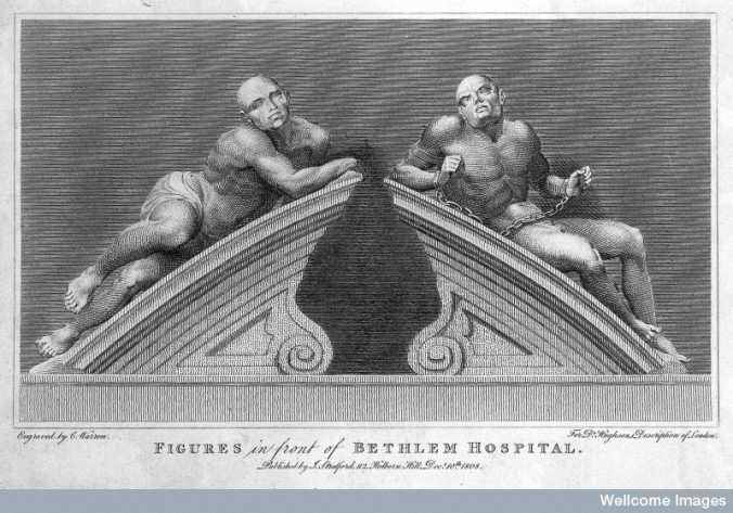 """L0015088 Statues of """"raving"""" and """"melancholy"""" madness, each reclining Credit: Wellcome Library, London. Wellcome Images images@wellcome.ac.uk http://wellcomeimages.org Statues of """"raving"""" and """"melancholy"""" madness, each reclining on one half of a broken segmental pediment, formerly crowning the gates at Bethlem [Bedlam] Hospital. Engraving by C. Warren, 1808, after C. Cibber, 1680. Engraving 1808 By: Caius Gabriel Cibberafter: Charles Turner WarrenPublished: 10 December 1808 Copyrighted work available under Creative Commons Attribution only licence CC BY 4.0 http://creativecommons.org/licenses/by/4.0/"""
