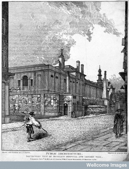 L0011828 The Hospital of Bethlem [Bedlam] at Moorfields, London: seen