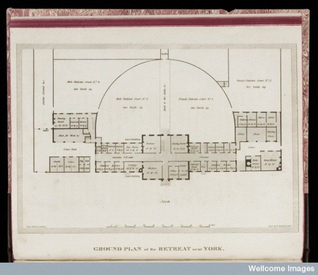 L0048417 Description of the Retreat Credit: Wellcome Library, London. Wellcome Images images@wellcome.ac.uk http://wellcomeimages.org Ground plan of the Retreat near York. 1813 Description of the Retreat, an institution near York, for insane persons of the Society of Friends : Samuel Tuke Published: 1813. Copyrighted work available under Creative Commons Attribution only licence CC BY 4.0 http://creativecommons.org/licenses/by/4.0/