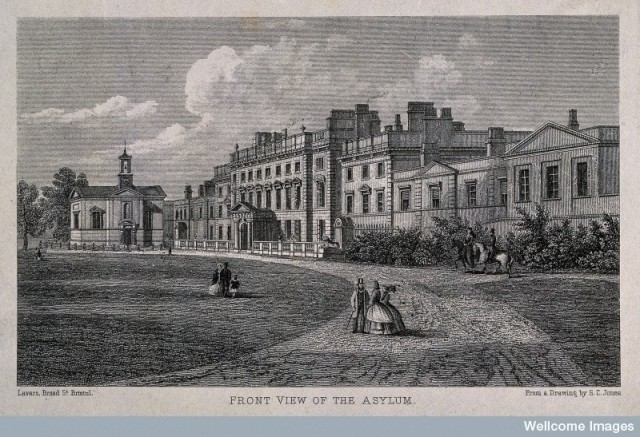 V0012192 The asylum and front grounds, Bath. Steel engraving after S.